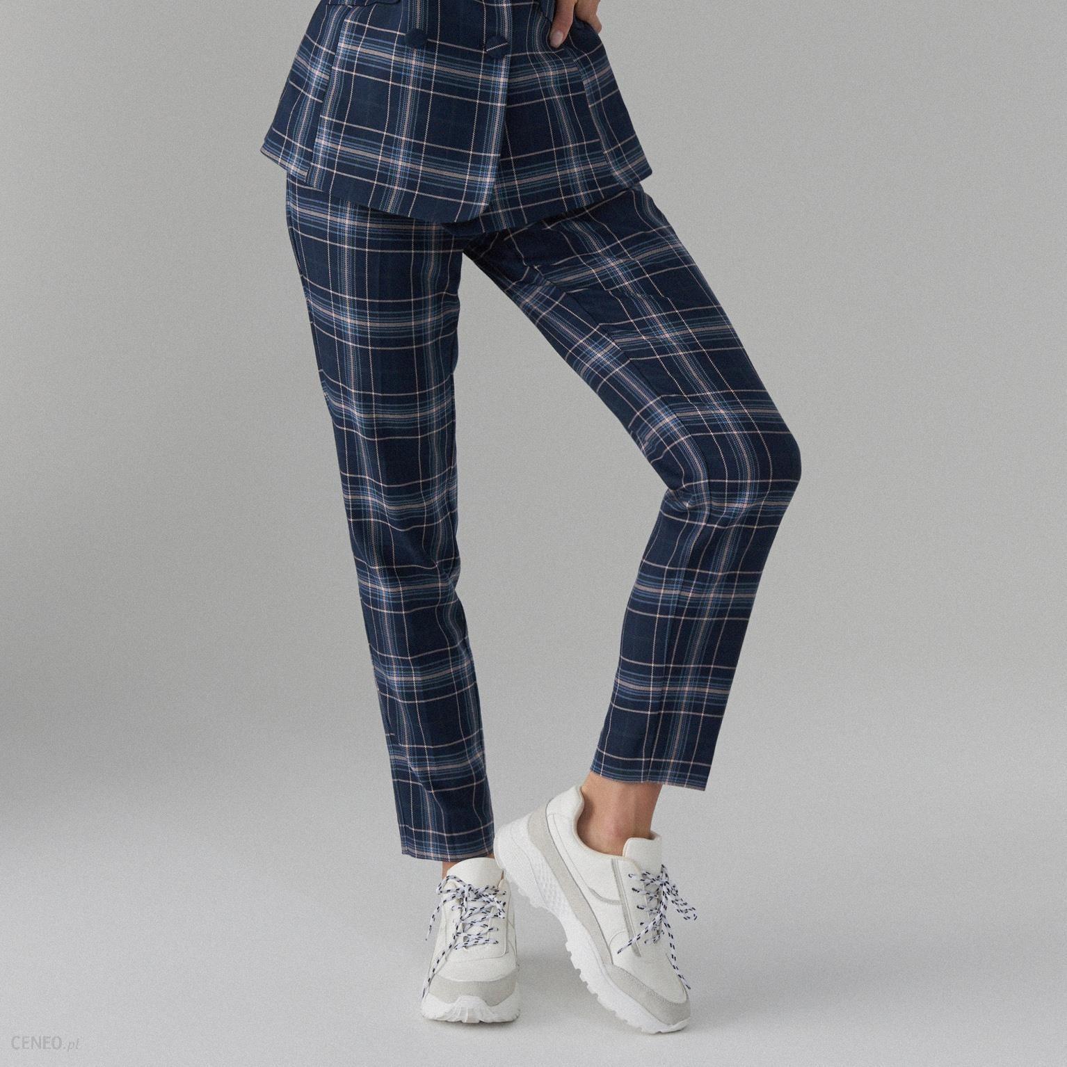 spodnie cygaretki w kratę damskie