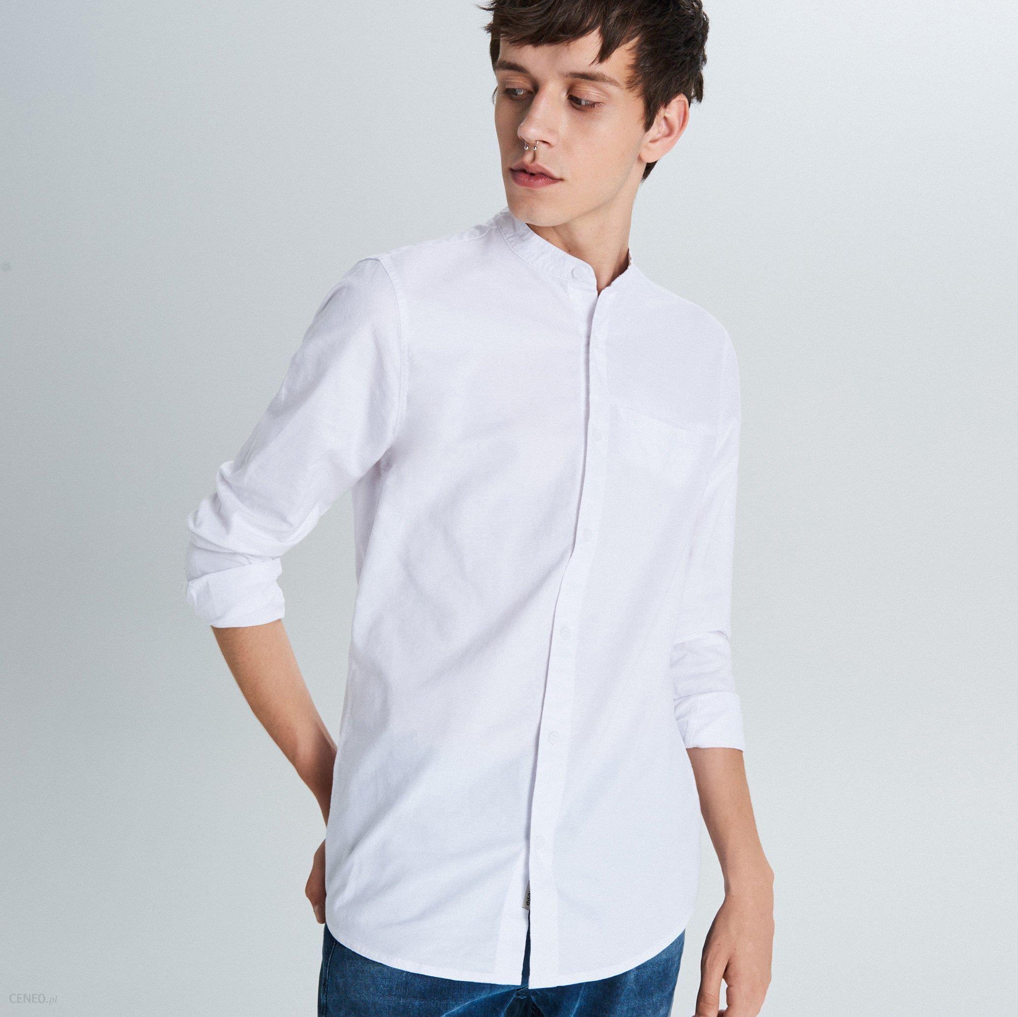 Cropp Gładka koszula typu collar band Biały Ceny i  cmrWH
