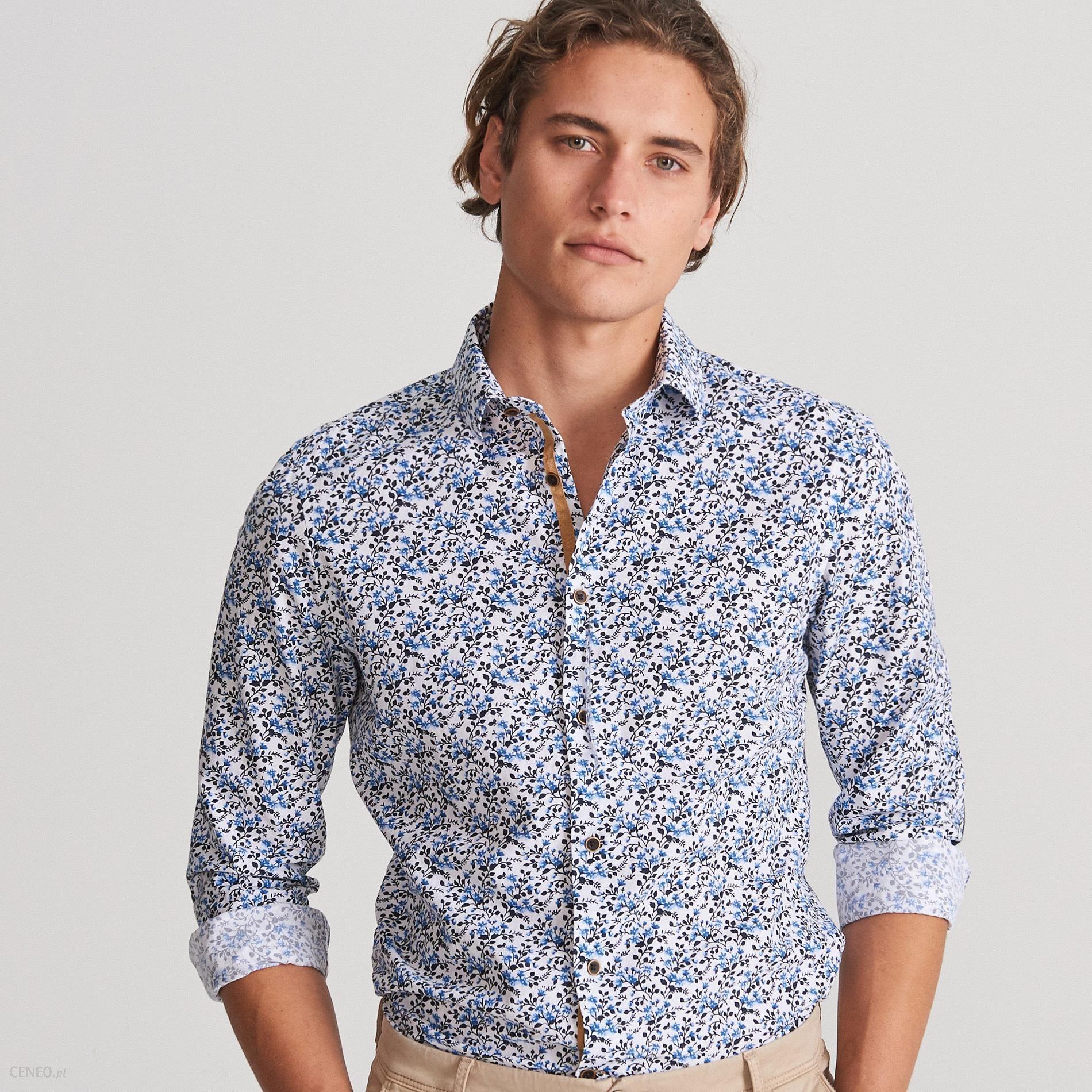 Reserved Koszula slim fit w drobne kwiaty Niebieski  WttaM
