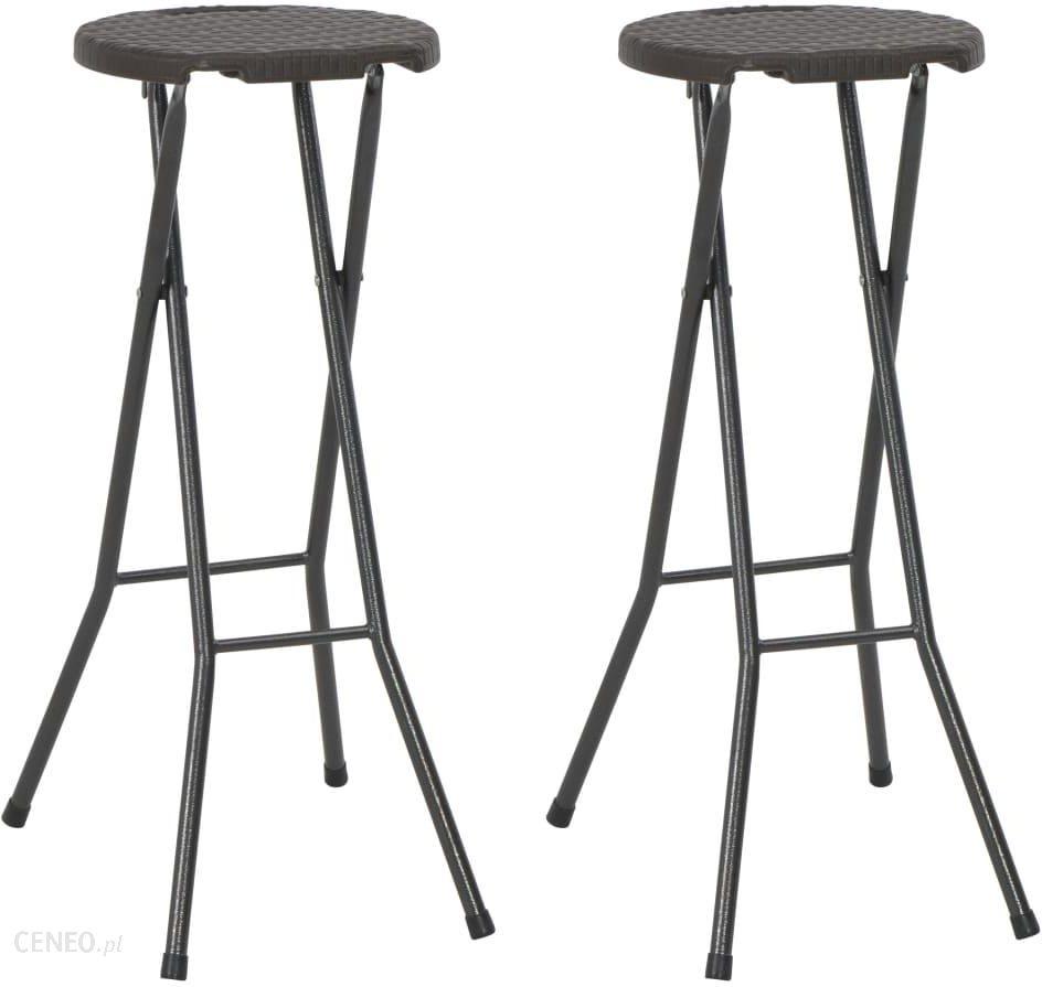 vidaXL Składane stołki barowe, 2 szt., HDPE i stal, białe