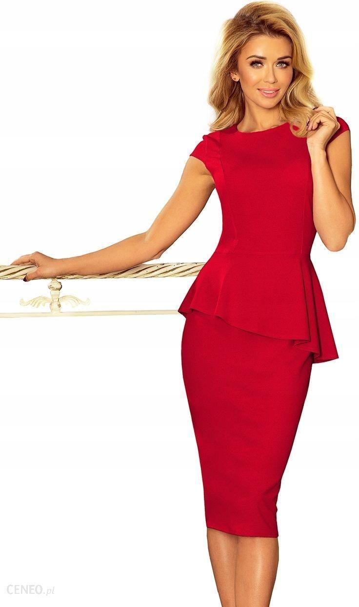 Elegancka sukienka MIDI z baskinką Czerwona S 36 Ceny i opinie Ceneo.pl