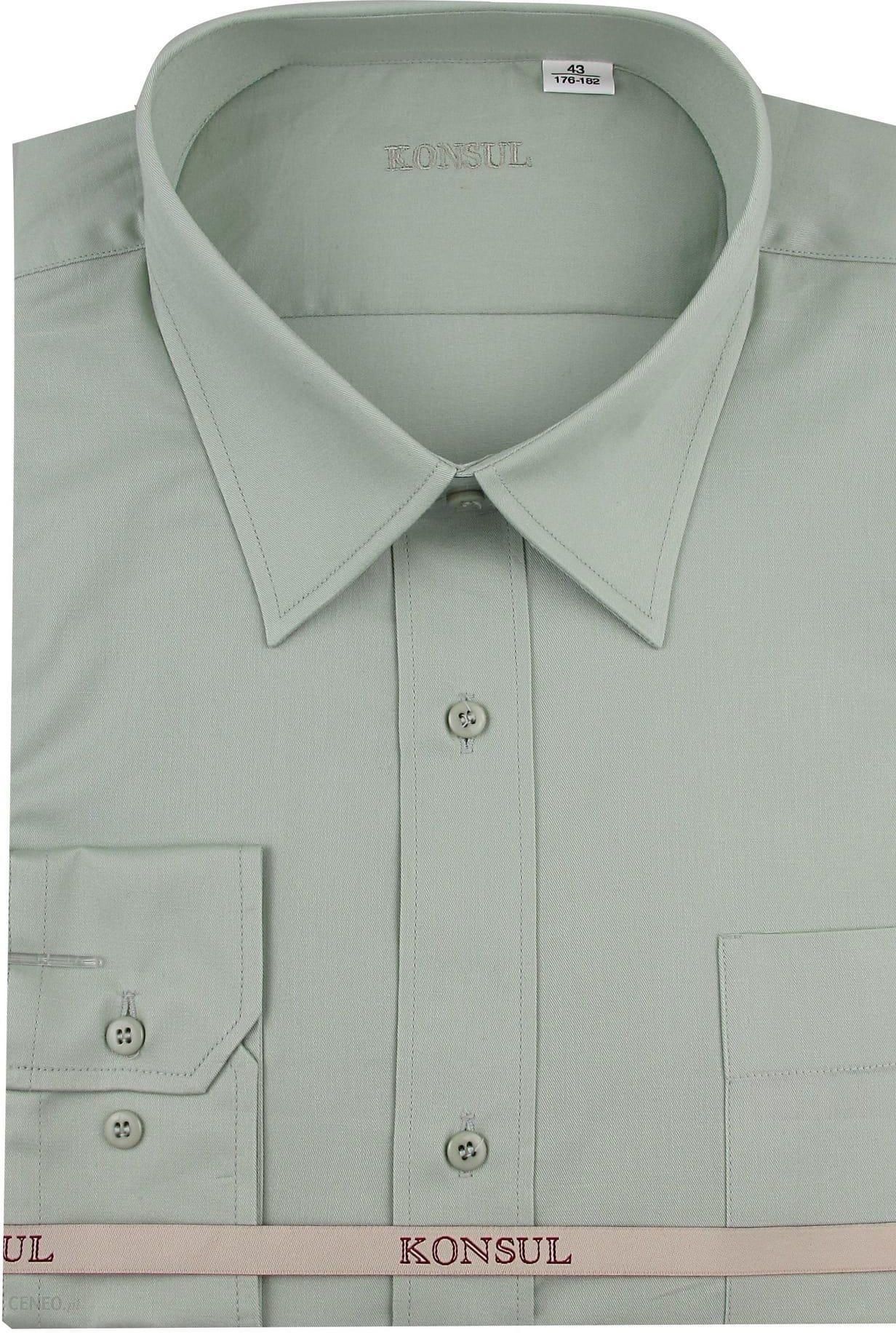 Koszula Męska Konsul gładka oliwkowa na długi rękaw 100  zgSoP