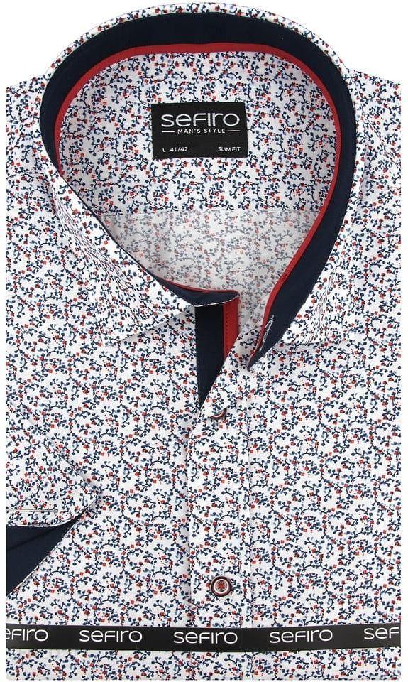 Duża Koszula Męska Sefiro biała w czerwone kwiatki na krótki