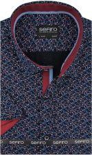 Koszula Męska Sefiro czarna w bordowe kwiatki SLIM FIT na  60p1C