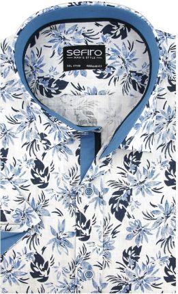 Lniana Koszula Męska Sefiro biała w niebieskie kwiaty SLIM  cf6pt