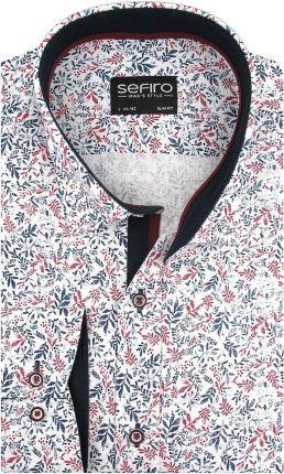 Lniana Koszula Męska Sefiro biała w granatowe listki SLIM FIT na długi rękaw A143 XL 43 182188 Ceny i opinie Ceneo.pl