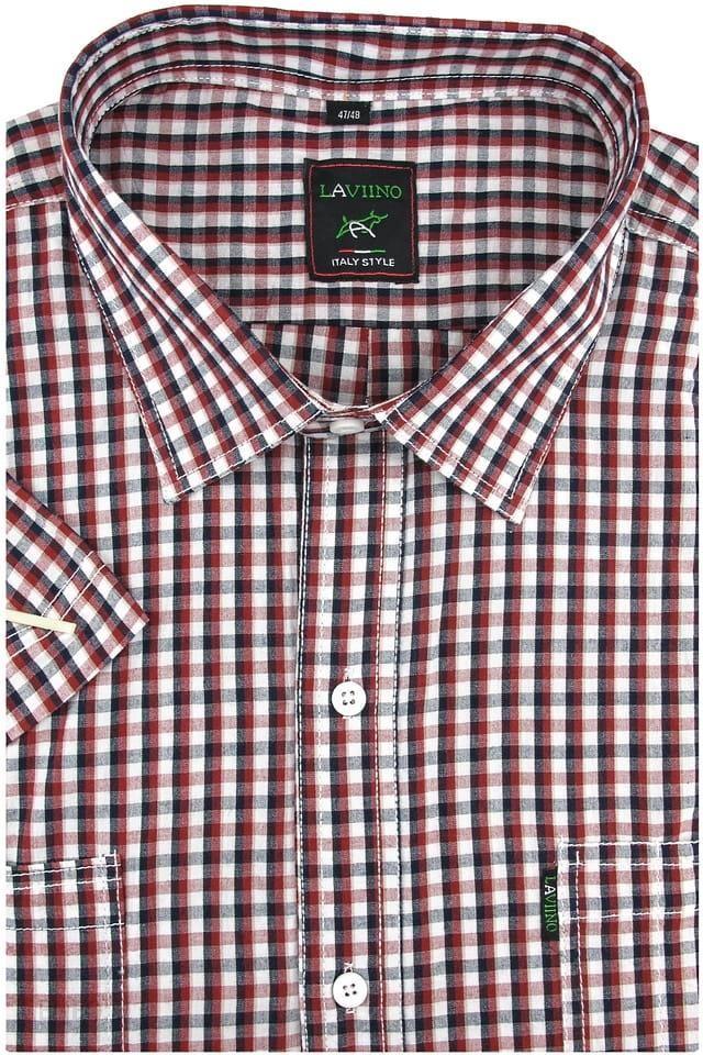 Duża Koszula Męska Laviino czerwona w kratkę na krótki rękaw  6TQKE