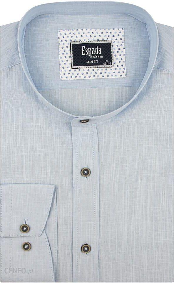 Lniana błekitna koszula męska z krótkim rękawem Rozmiar L
