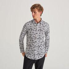 Koszula z roślinnym printem Reserved Koszule męskie czarne