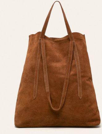 Worek zamsz shopper bag włoska skórzana torba xl a4 czarna w456n