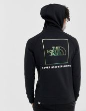 The North Face Raglan Red Box hoodie in black/iridescent - Black