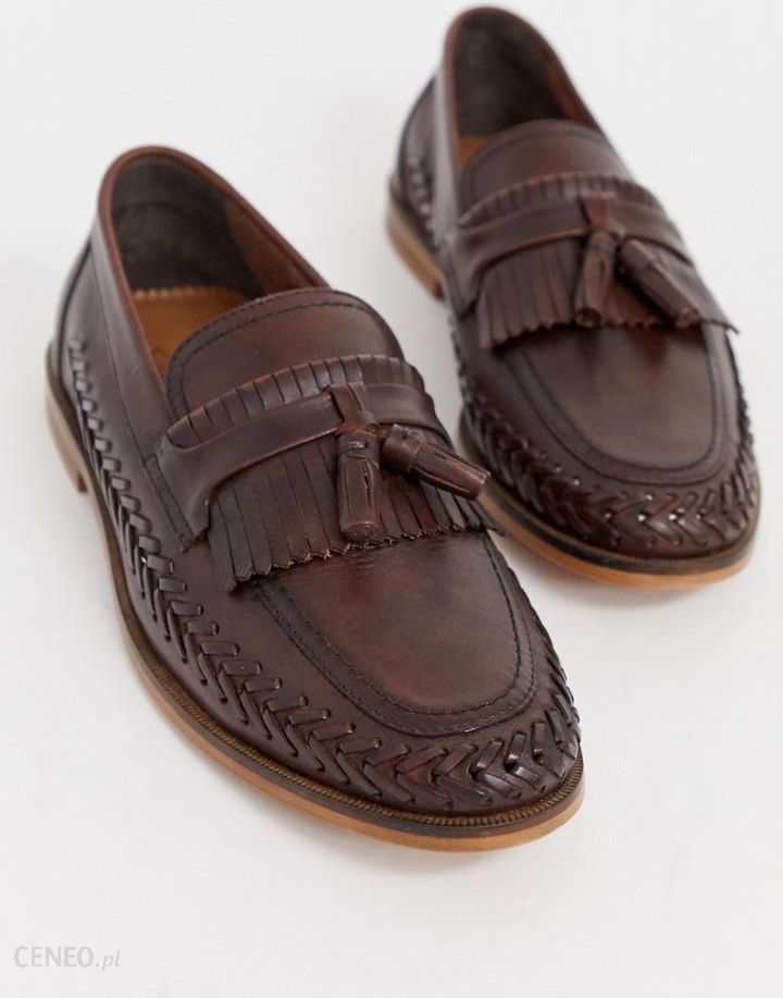 order online wholesale dealer sold worldwide WALK London Arrow loafers in brown leather with weave detail ...