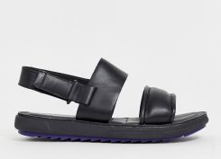 Camper marges leather chunky sandal in black - Black