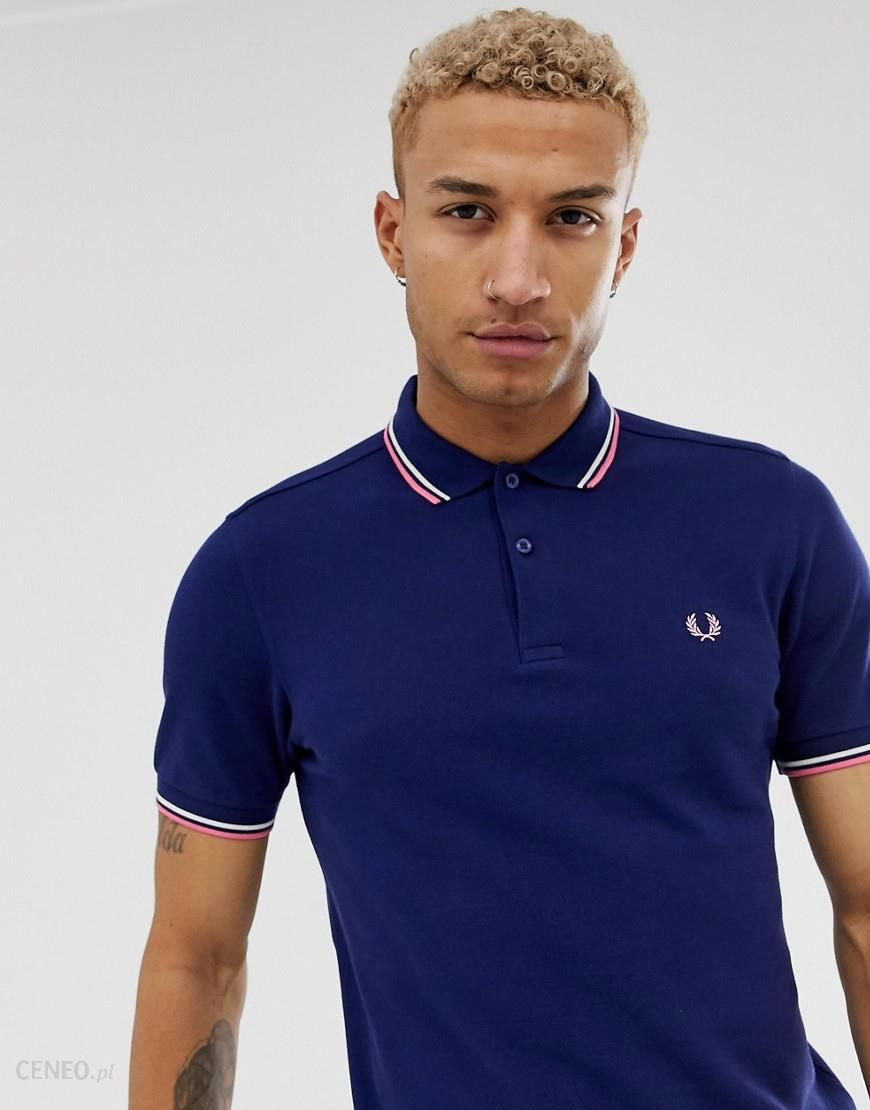 Fred Perry twin tipped polo in navy Navy Ceneo.pl