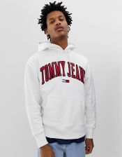 Tommy Jeans relaxed fit collegiate capsule hoodie in white - White