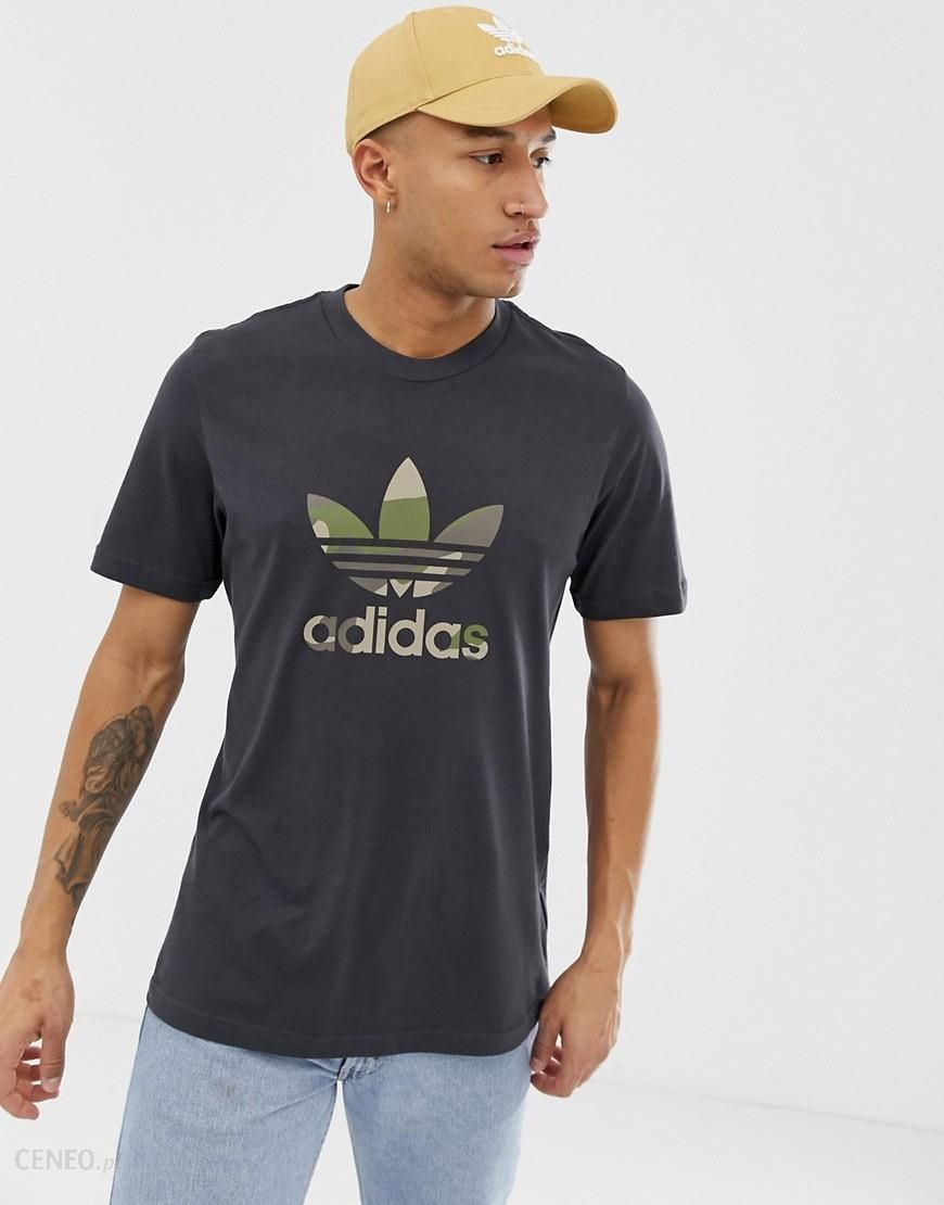 adidas Originals Camo Trefoil Filled t shirt In Black Black