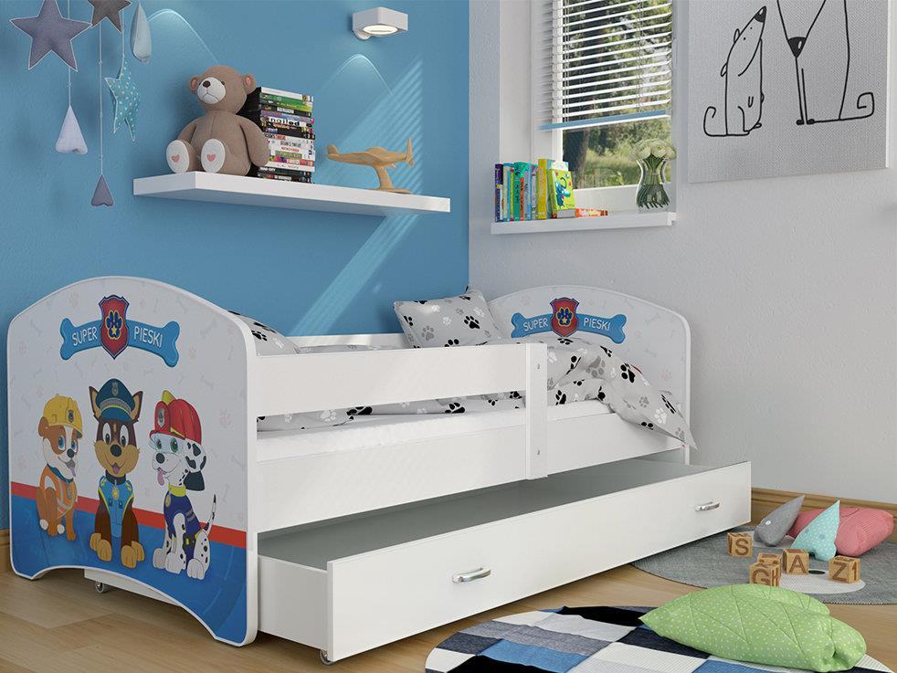 meble dla dzieci spokojne sny luki psi patrol Łóżko biały 80x160cm