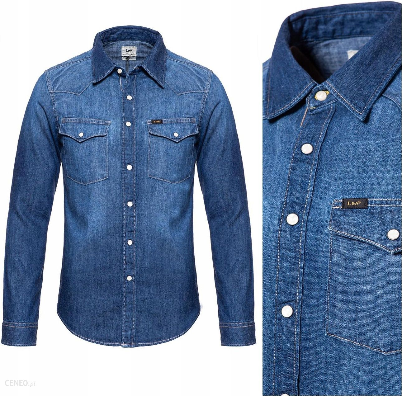 Lee Western Shirt Koszula Męska Jeansowa Slim S Ceny i  vuDzA