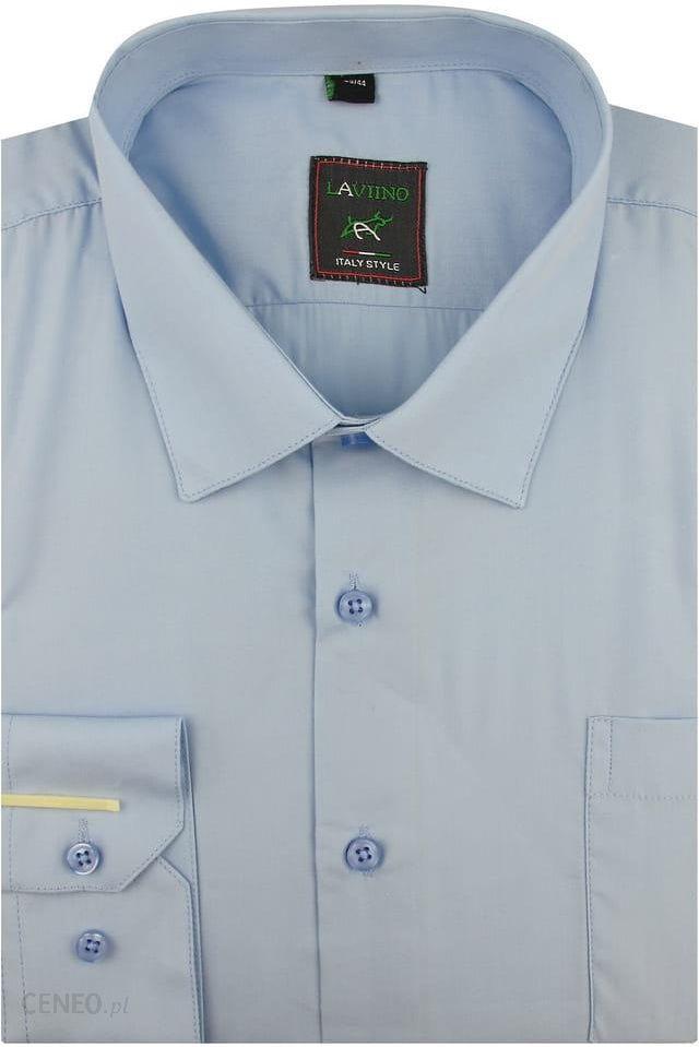 Koszula Męska Laviino gładka chabrowa na długi rękaw w kroju REGULAR A174