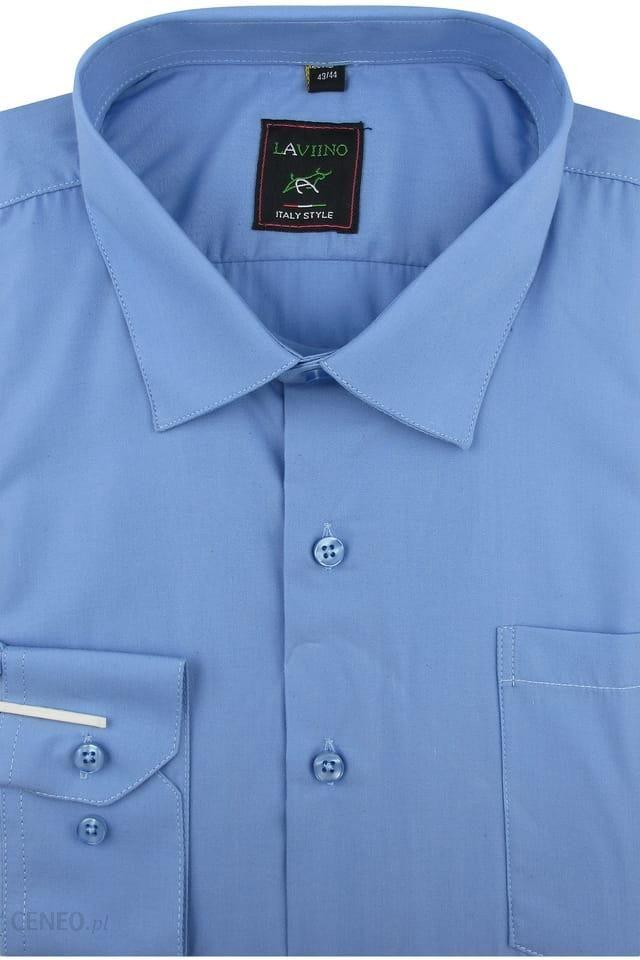 Koszula Męska Laviino gładka niebieska na długi rękaw w  Mltkw