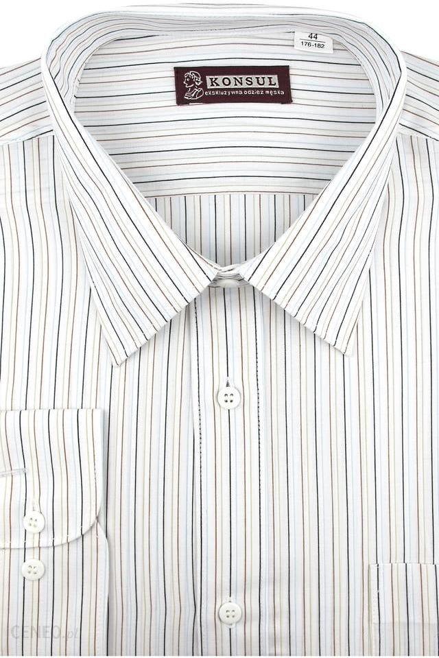 Koszula Męska Konsul biała w paski na długi rękaw w kroju  Oya03