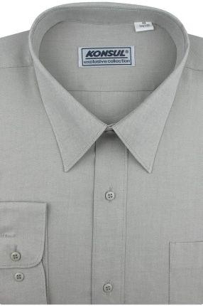 Koszula Męska Konsul gładka oliwkowa na długi rękaw w kroju  25Re6