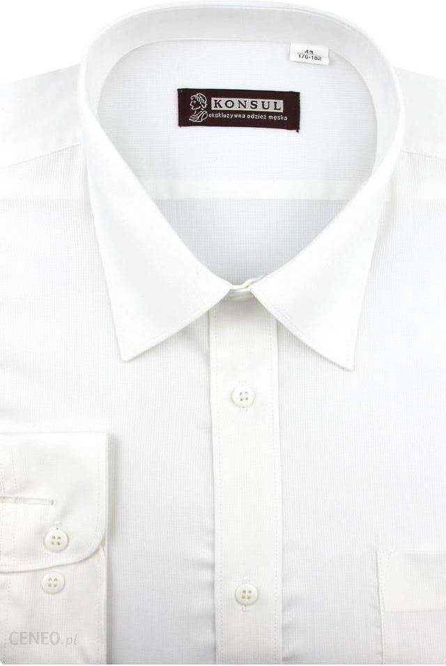 Koszula Męska Konsul biała w delikatne paski na długi rękaw  q2Czd