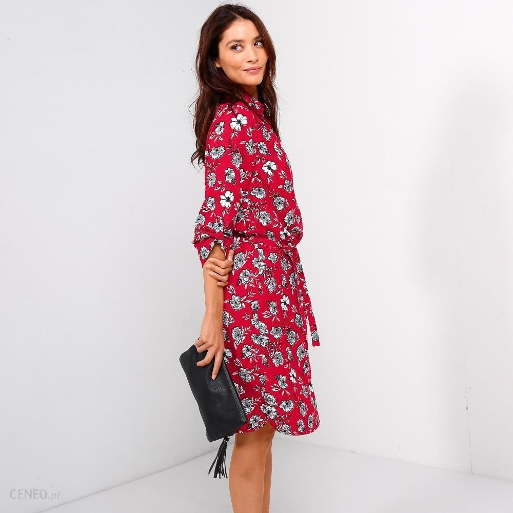 Koszulowa sukienka Kwiaty czerwoneszare velikost 54