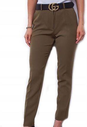 MOE Granatowe Eleganckie Spodnie Typu Chino z Wiązanym