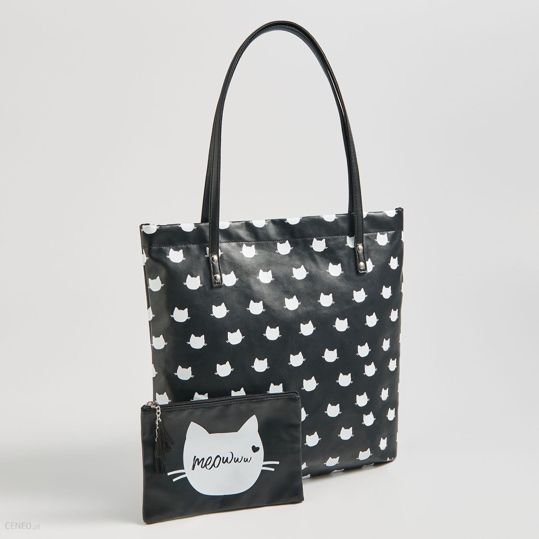 taniej wyprzedaż w sprzedaży super promocje Sinsay - Wzorzysta torba z kosmetyczką - Czarny - Ceny i opinie - Ceneo.pl