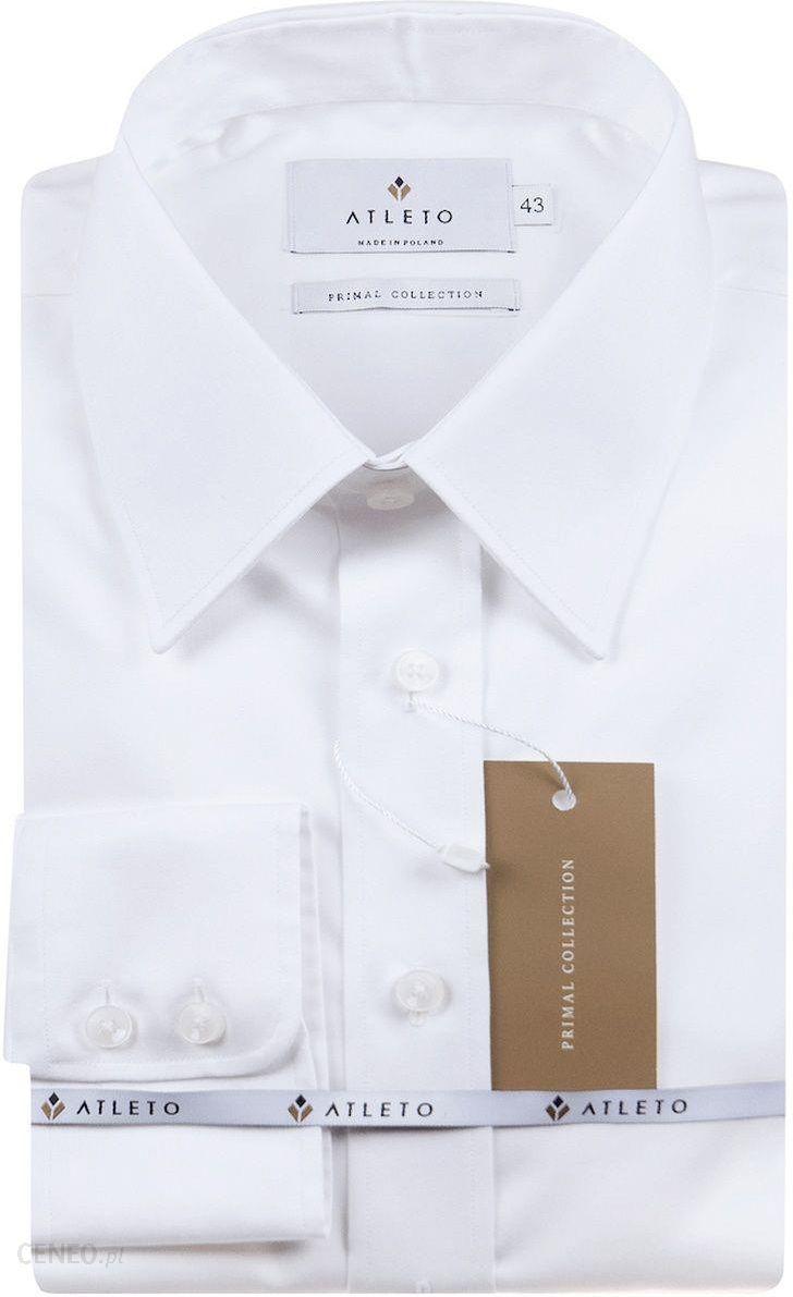 Biała Koszula Męska ATLETO Wizytowa z Długim Rękawem  dJ1XY