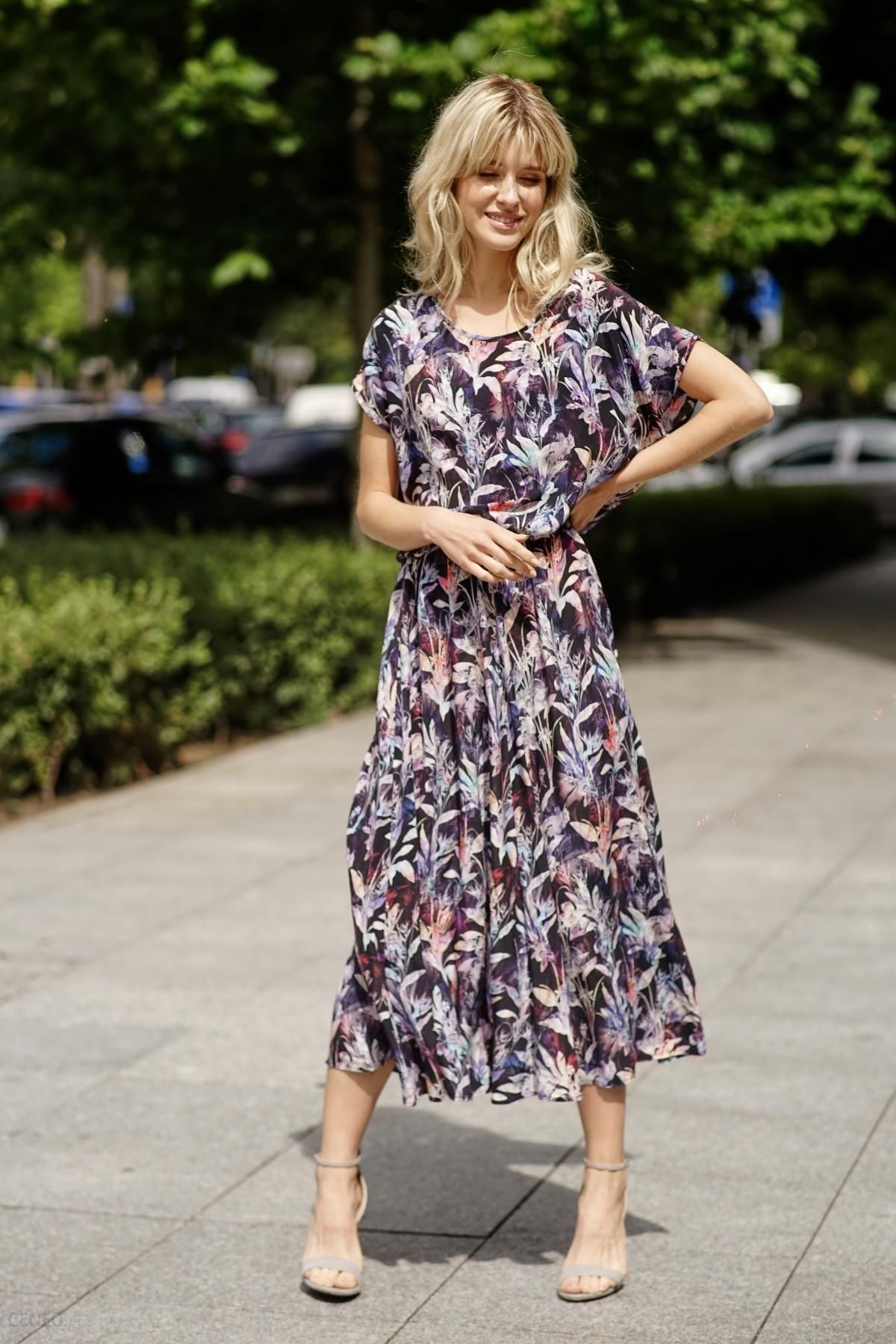 Granatowa sukienka midi w pastelowe liście Ceny i opinie Ceneo.pl