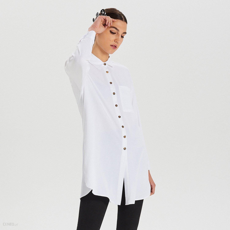 Cropp Długa koszula oversize Biały Ceny i opinie  It9z3