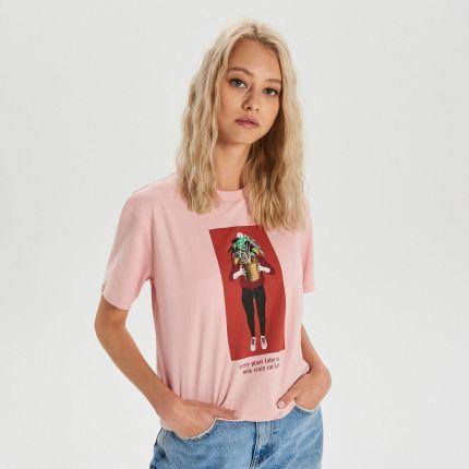 Sinsay T shirt z kocim motywem Różowy Ceny i opinie