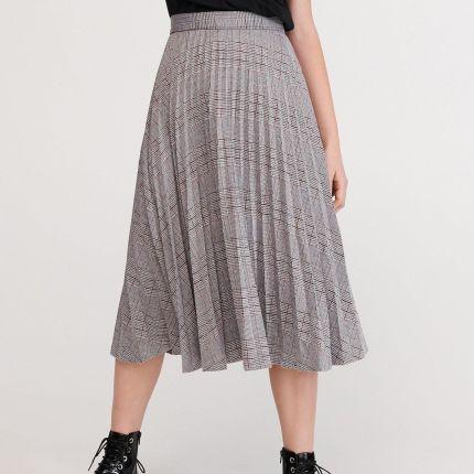 Reserved Plisowana spódnica w kratę Wielobarwny