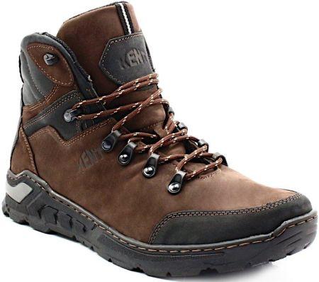 KENT 303 GRANATOWE Zimowe buty męskie ze skóry Niebieski
