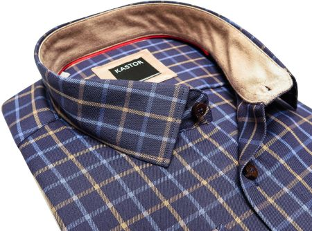 Granatowa koszula męska Jurel w kratkę bawełniana