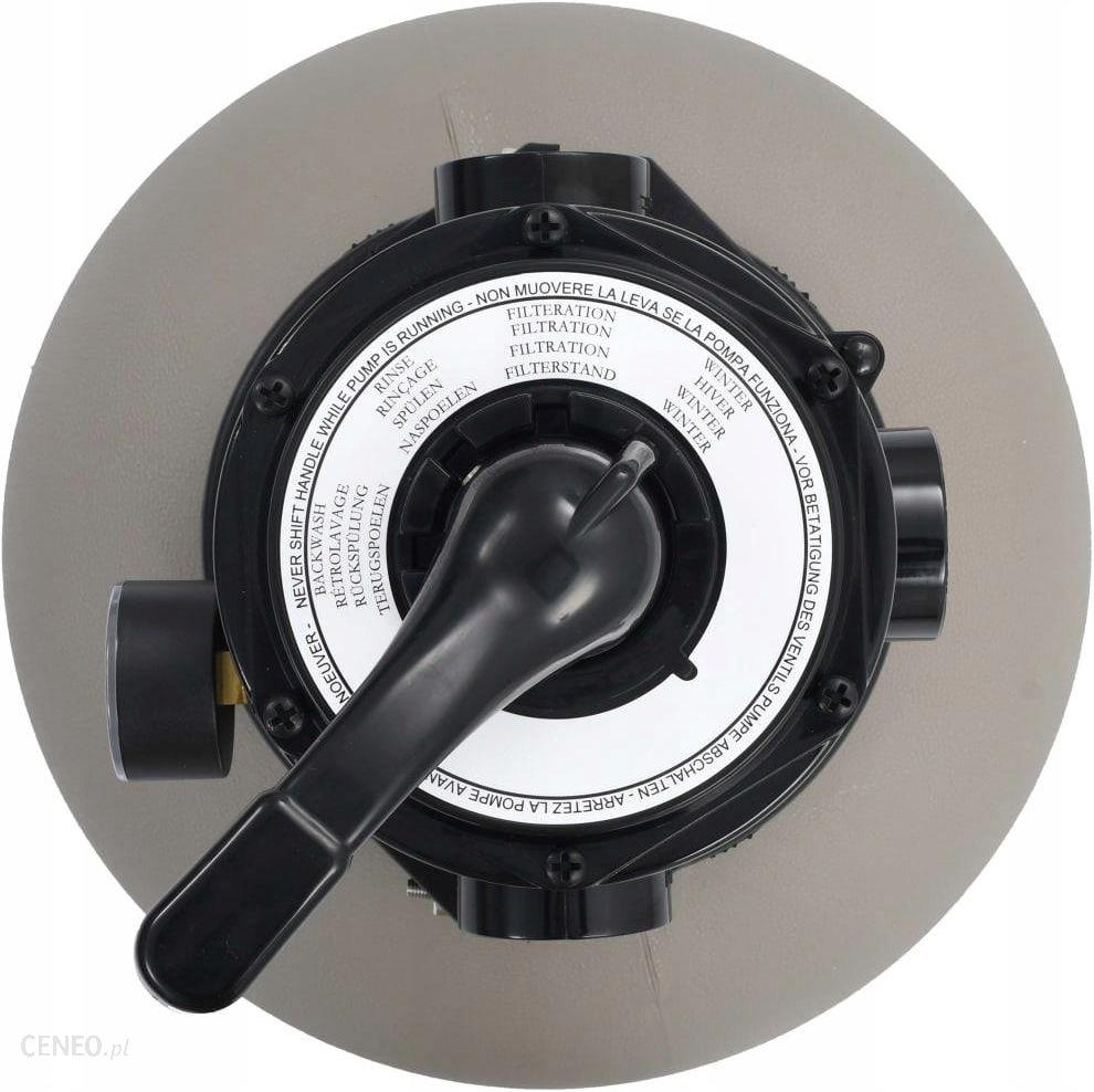 Piaskowy filtr basenowy z zaworem 4 drożnym, szary, 350 mm
