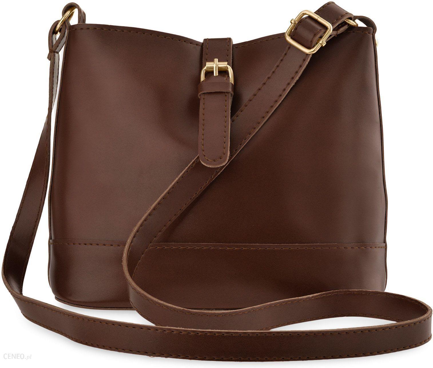 Klasyczna listonoszka torebka damska raportówka przewieszka z klamerką brązowy