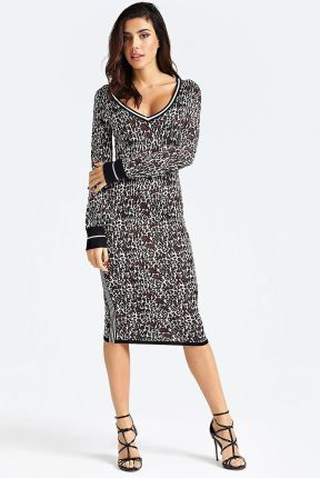 Guess swetrowa sukienka Animalier Print Dress - XS