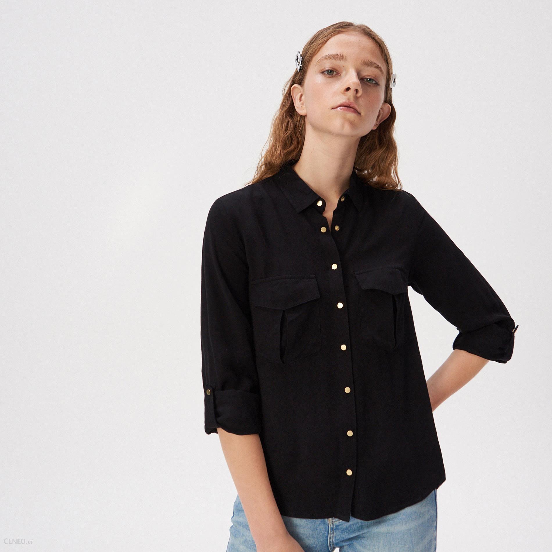 Sinsay Wiskozowa koszula z kieszeniami Czarny Ceny i  K2yLR