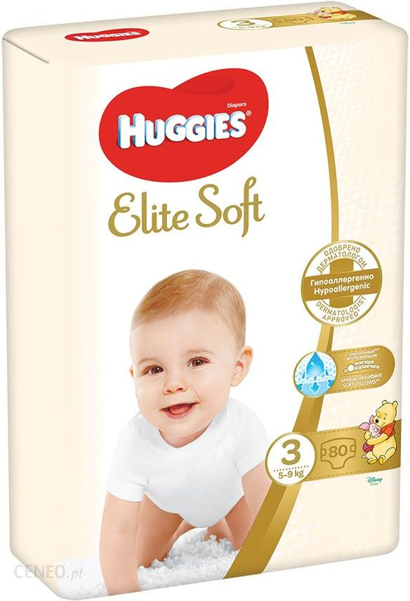 Huggies Elite Soft 3 80szt 4-9Kg - Pieluszki jednorazowe dla dzieci o wadze 4-9 kg Ilość w opakowaniu 80 - Ceneo.pl