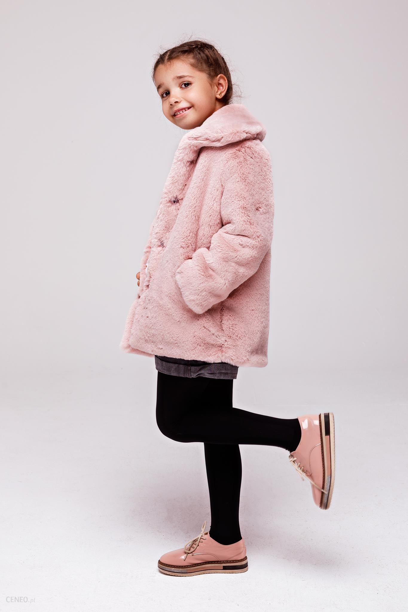 Różowe Dziecięce Futerko Dla Dziewczynki Zimowa Kurtka Dziewczęca 134
