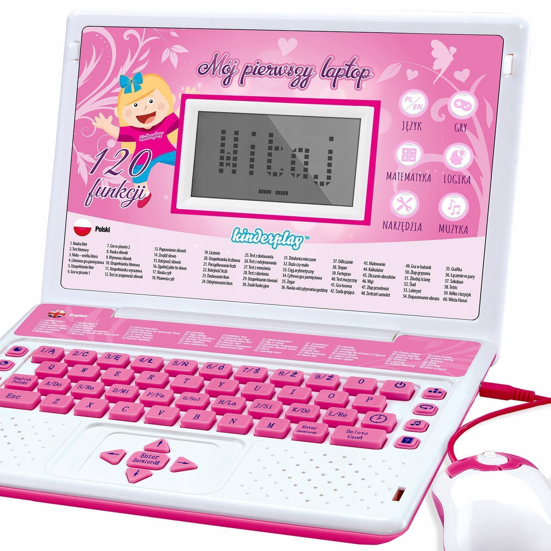 Kinderplay Laptop Dla Dzieci Edukacyjny Różowy