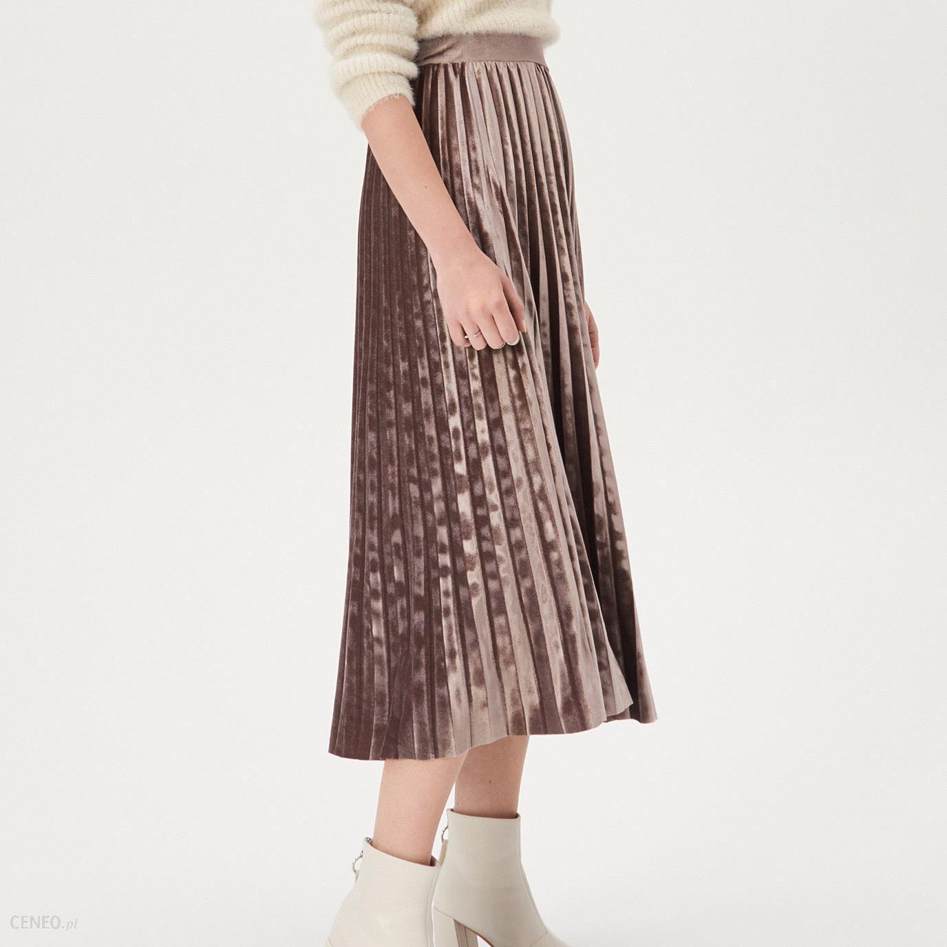 Sinsay Plisowana spódnica midi Różowy Ceny i opinie