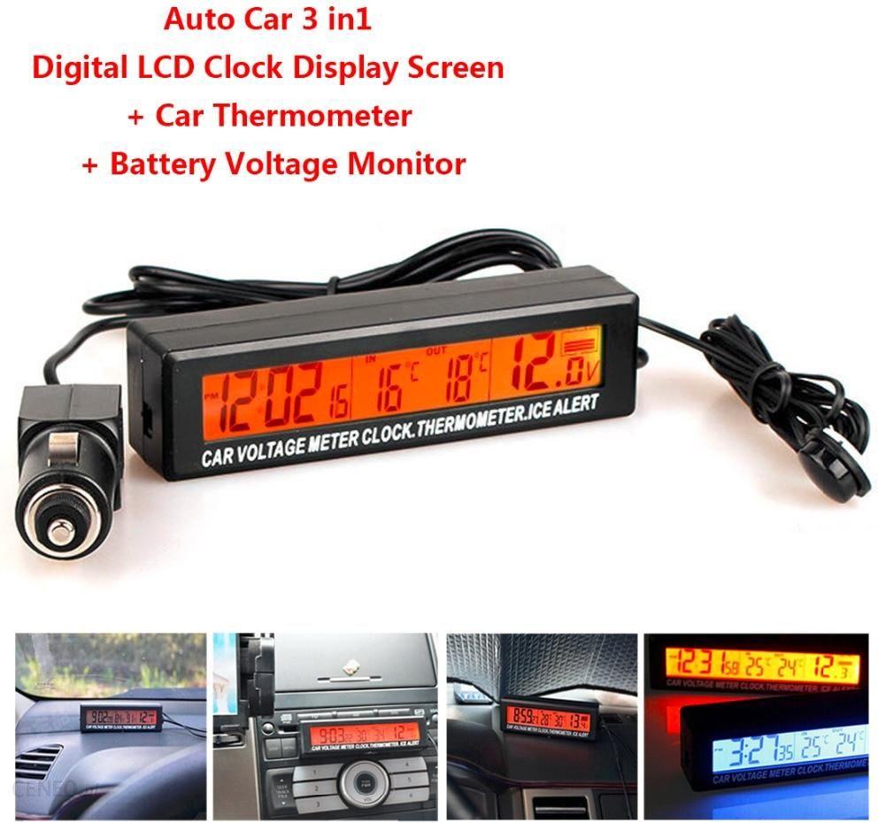 AliExpress LCD cyfrowy Auto samochód 3w1 zegar termometr monitor temperatury miernik InOut ekran napięcie Ceneo.pl