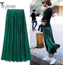 AliExpress Trytree letnia jesień plisowana spódnica damska Vintage spódnica z wysokim stanem jednolity kolor Ceneo.pl