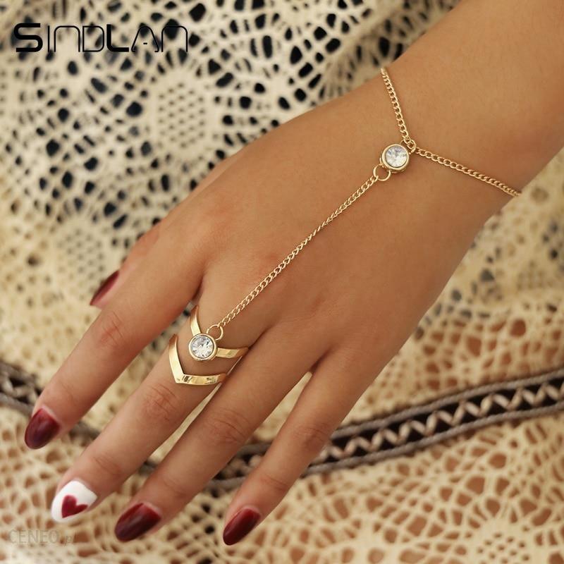 AliExpress Sindlan złoty duży kryształ bransoletka z pierścionkiem dla kobiet na rękę łańcuch biżuteria mody