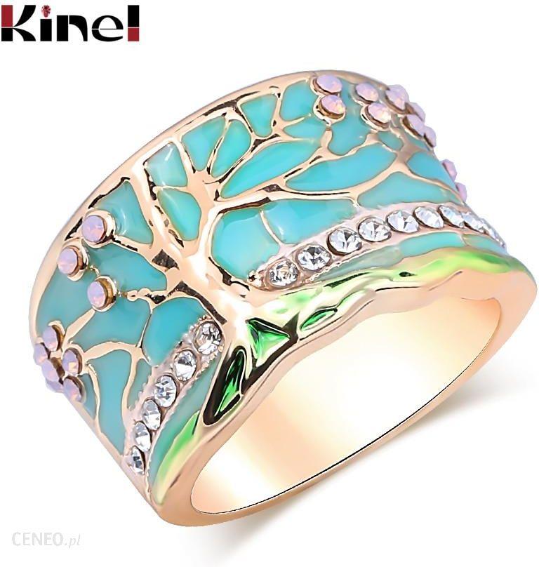 AliExpress Kinel popularne na szczęście drzewo kwiatowe pierścionki moda złoty różowy Opal zielona emaliowana