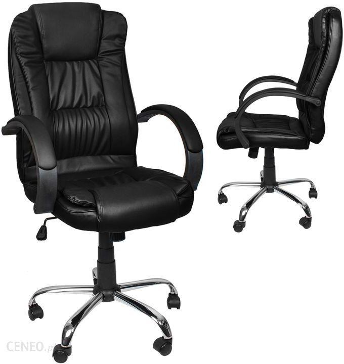 Fotel Biurowy Obrotowy Krzesło Biurowe Tilt Chrom Czarny 8983